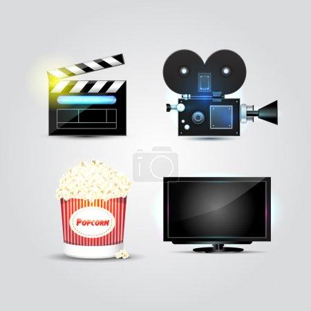 Illustration pour Icônes Cinéma et Cinéma - set d'icônes vectorielles - image libre de droit