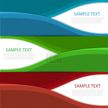 Collection banners modern wave design, colorful background.