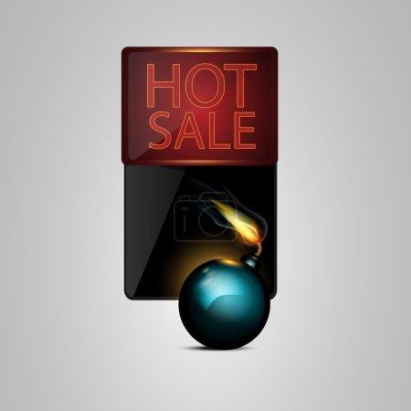 Illustration pour Bombe noire vectorielle avec bannière de vente - image libre de droit