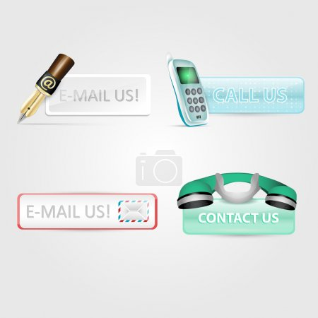 """Set of """"contact us"""", """"e-mail us"""", """"call us"""" icons"""