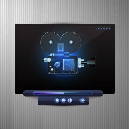 Illustration pour Média vidéo noir player - image libre de droit