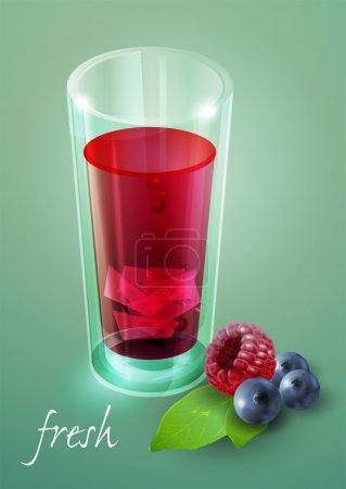 Photo pour Un verre de jus de baies frais. Illustration vectorielle . - image libre de droit