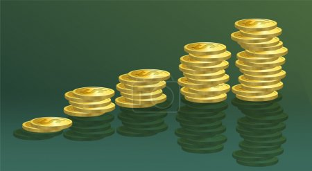Gold coins. Vector illustration.