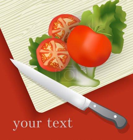 Illustration pour Tomate sur planche à découper. Illustration vectorielle . - image libre de droit