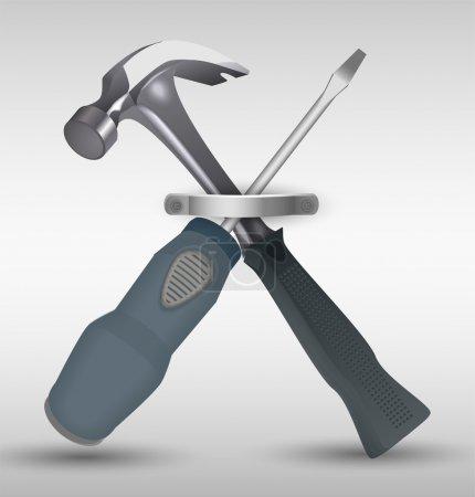 Illustration for Hammer and Screwdriver. Vector illustration - Royalty Free Image