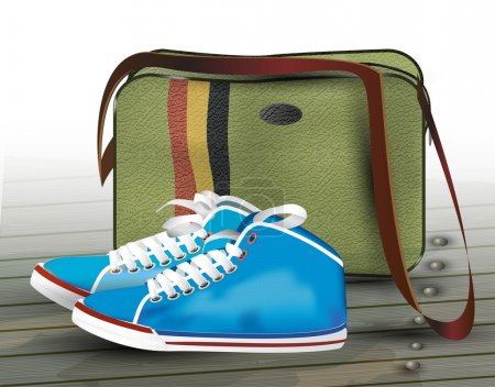 Sneakers and bag. Vector illustration.