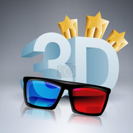 Vektor-Illustration von 3D-Wörtern, die mit 3D-Brillen geschrieben wurden.