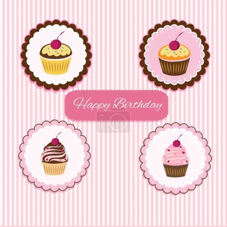 Illustration pour Joyeux anniversaire carte cupcake. Vecteur - image libre de droit
