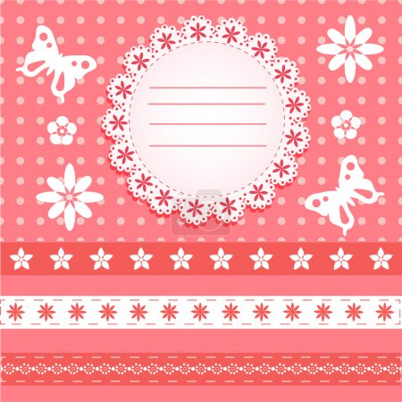 Greeting Card with butterfly and floral. Vector