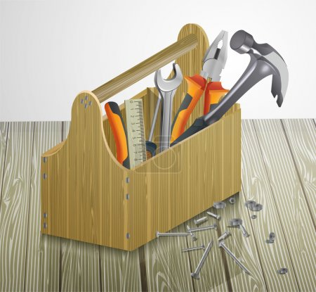 Photo for Toolbox with tools. Vector illustration. - Royalty Free Image