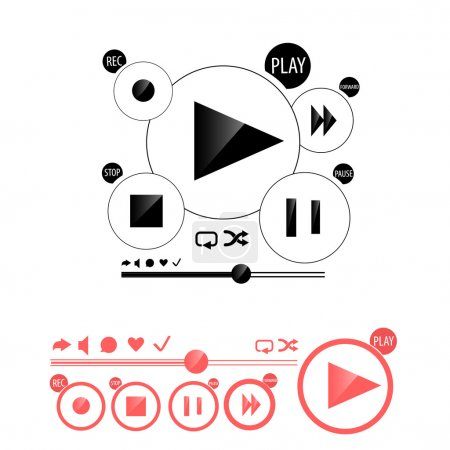 Round media player buttons and red audio player isolated on background