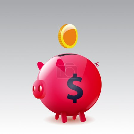 Vector moneybox pig with a gold coin