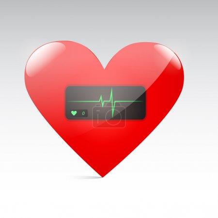 Photo pour Coeur rouge avec pouls. Vecteur - image libre de droit