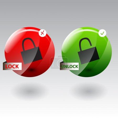 Illustration pour Illustration vectorielle du concept de sécurité avec verrouillage et déverrouillage du pad - image libre de droit