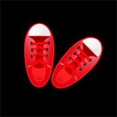 Vector red sneakers vector illustration