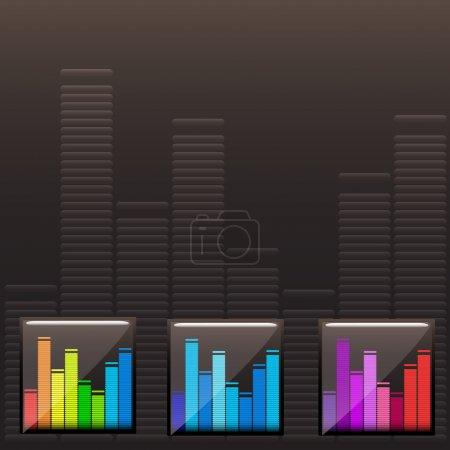 Vector colored music spectrum set