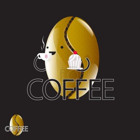 Vector coffee bean cartoon