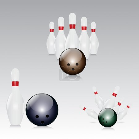 Illustration for Skittles with bowling ball - vector illustration - Royalty Free Image