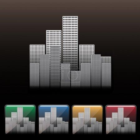 Skyscraper city icon set. Vector