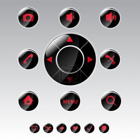 Illustration pour Icônes de menu de téléphone mobile - ensemble d'icônes vectorielles - image libre de droit