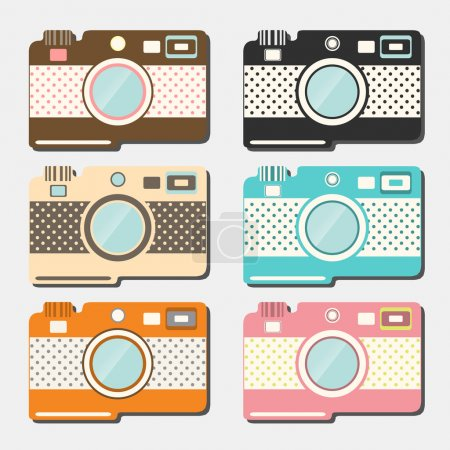 Old style photo cameras collection. Vector