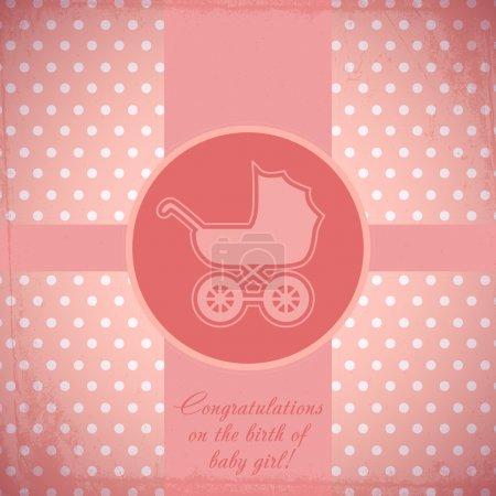 Illustration pour Carte pour bébé avec landau. Vecteur - image libre de droit