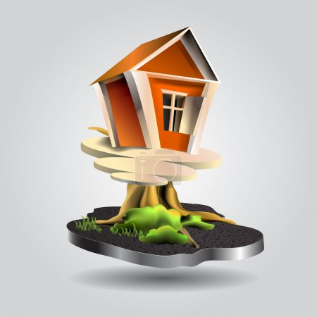 Vector Illustration of a small tree house