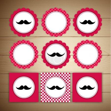 Vector retro mustache vintage fancy labels