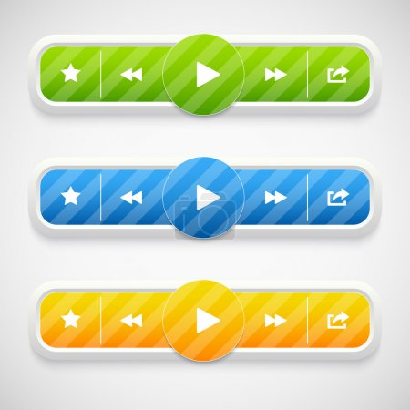Play ,Pause and Stop buttons. Music icons. Vector illustration.