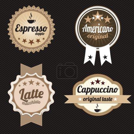 Etiquetas y distintivos de café. Vector