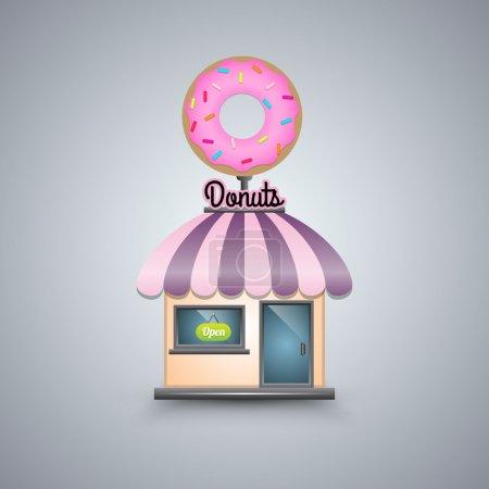 Illustration pour Illustration vectorielle d'une boutique de beignets sur fond blanc - image libre de droit