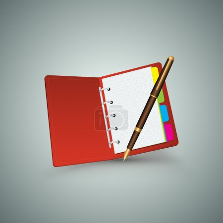 Red notebook with pen.