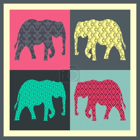 Illustration pour Carte vectorielle vacances avec éléphant - image libre de droit