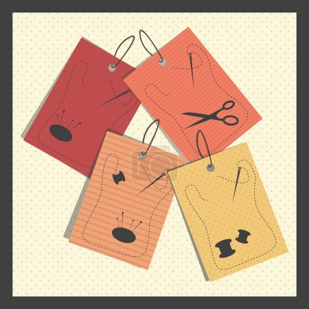 Illustration pour Papier couture étiquettes vectorielles illustration - image libre de droit