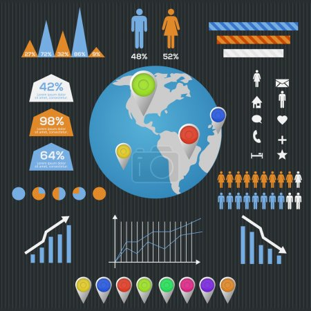 Illustration for World Map and Information Graphics. - Royalty Free Image