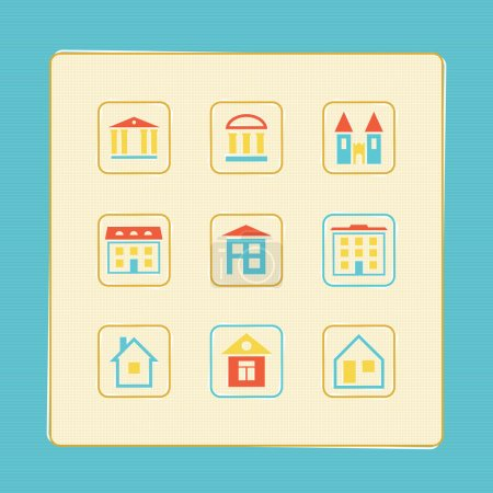 Set of icons of houses. A vector illustration.