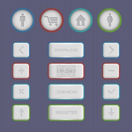 Illustration pour Boutons Web avec télécharger, télécharger, rejoindre maintenant, enregistrer des icônes - image libre de droit