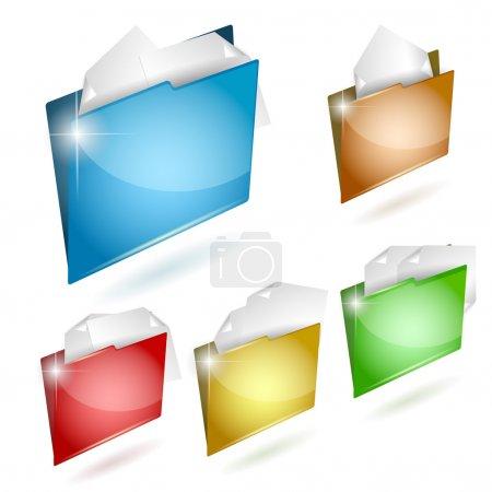 Folder icon set. Vector illustration