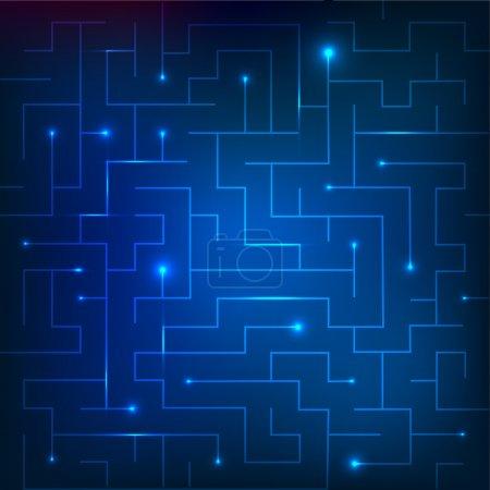 Illustration for Vector illustration of blue maze - Royalty Free Image