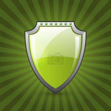 Illustration pour Illustration vectorielle éco-bouclier vert - image libre de droit