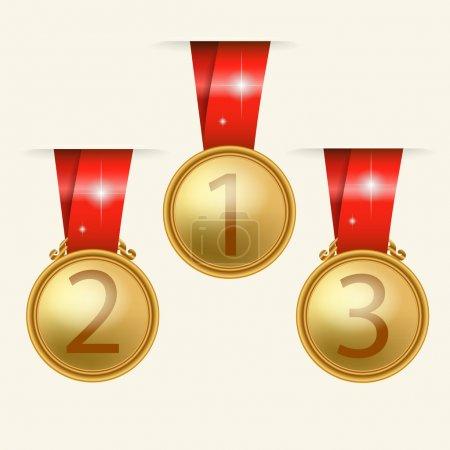 Vector golden medals vector illustration