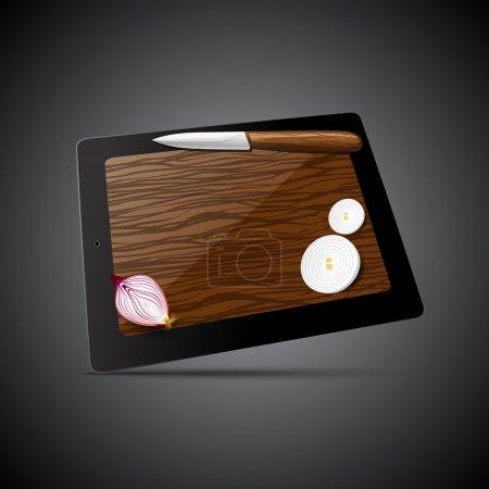 Tablet-Computer mit Messer und Zwiebel