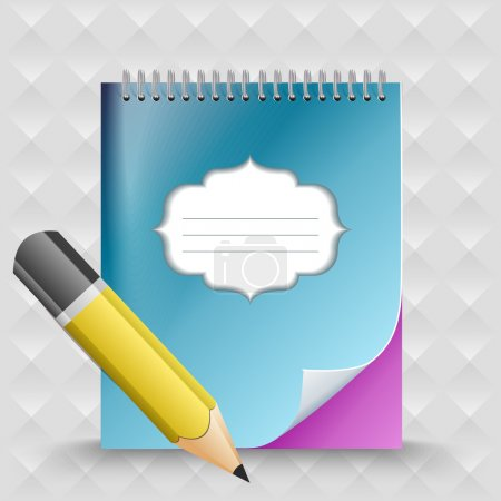 Pencil with notebook. Vector background.
