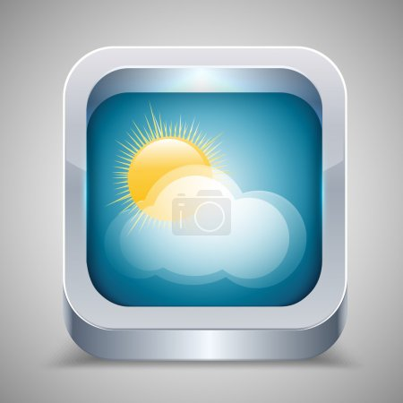 Illustration for Weather icon with sun and cloud. - Royalty Free Image