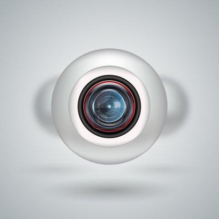 Realistic white webcam, vector design