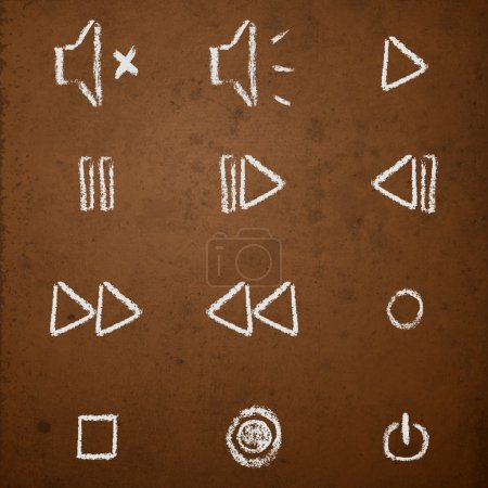 Vector set of hand drawn chalk on blackboard media player buttons.