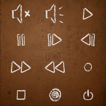 Illustration pour Ensemble vectoriel de craie dessinée à la main sur les boutons du lecteur multimédia du tableau noir . - image libre de droit