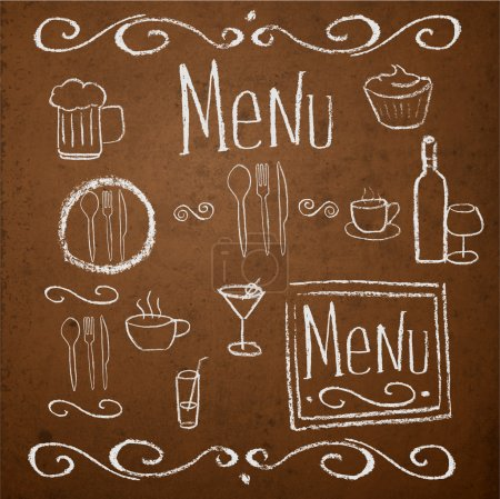 Chalk board with hand drawn vintage elements for menu. Vector illustration.
