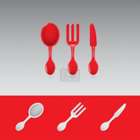 Illustration pour Ensemble de deux enseignes de restaurant rouge avec cuillère, fourchette et couteau - image libre de droit