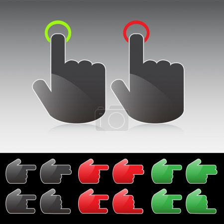 Various hand button icons